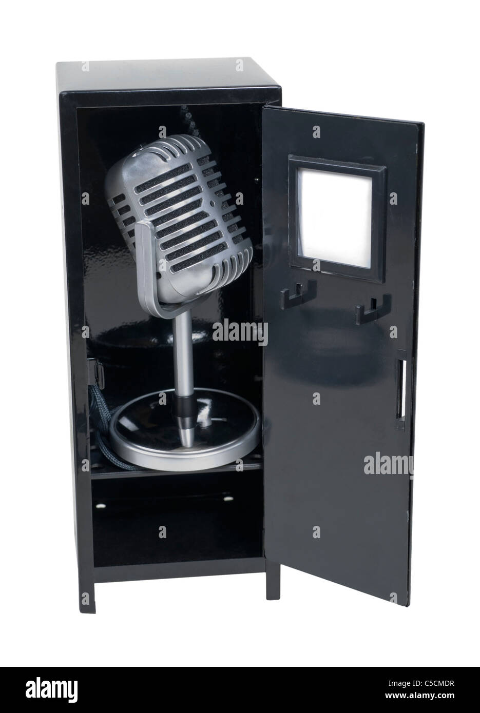 Sports announcements shown by a retro pill audio microphone in a metal locker - path included - Stock Image