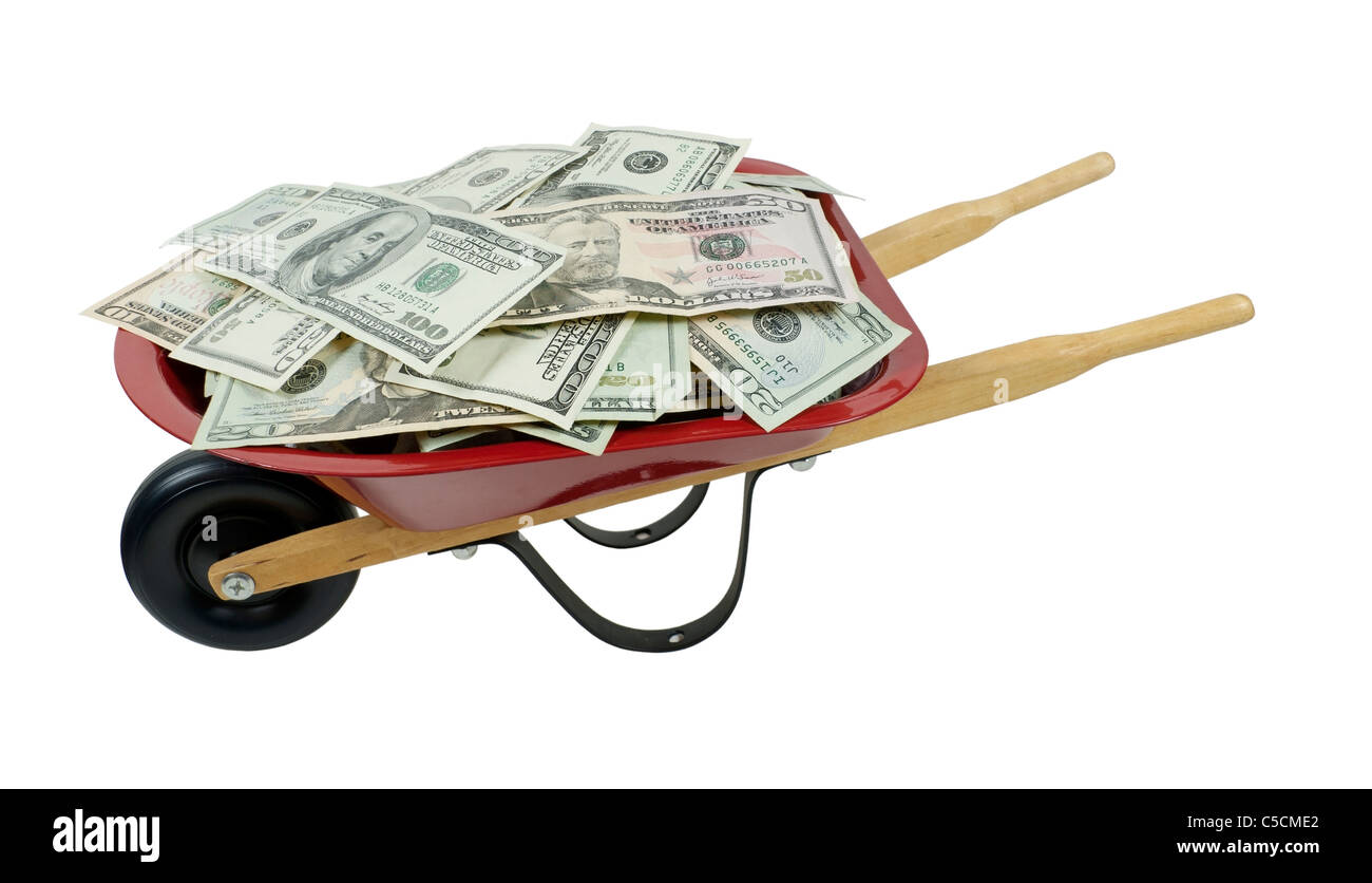 Red wheelbarrow full of large amount of money - path included - Stock Image