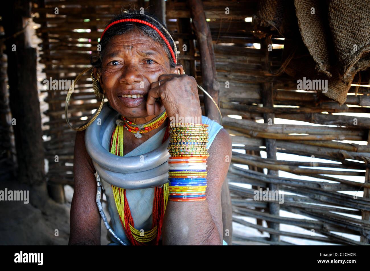 Gadba tribal woman in Barangabari, India - Stock Image