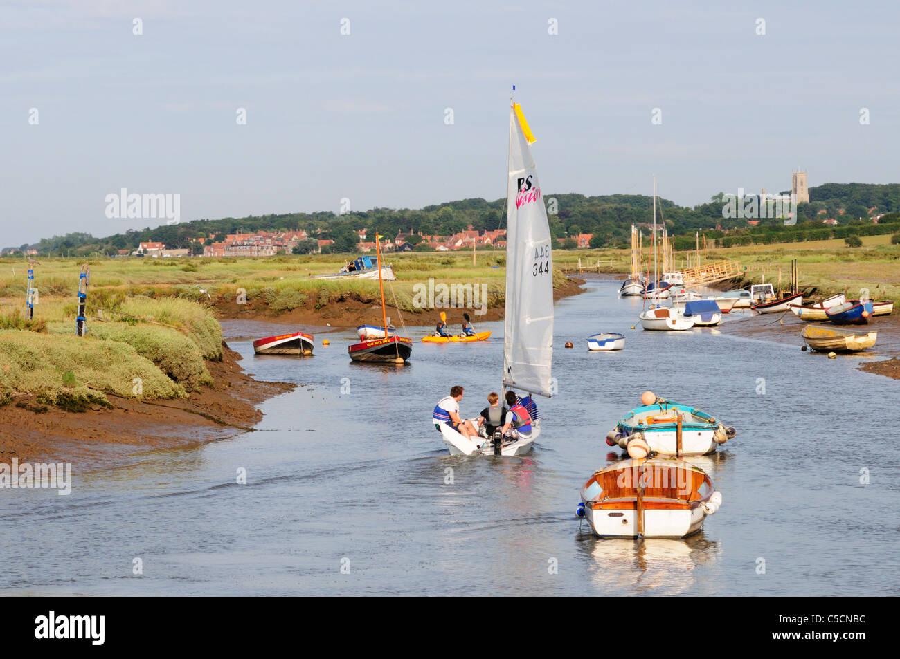 Dinghy Sailing in Morston Creek, Norfolk, England, UK - Stock Image
