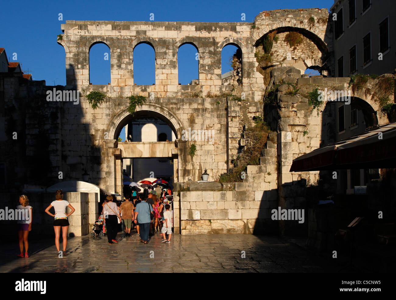 Silver (east) gate - Porta argentea - Diocletian's Palace, Split, Croatia Stock Photo
