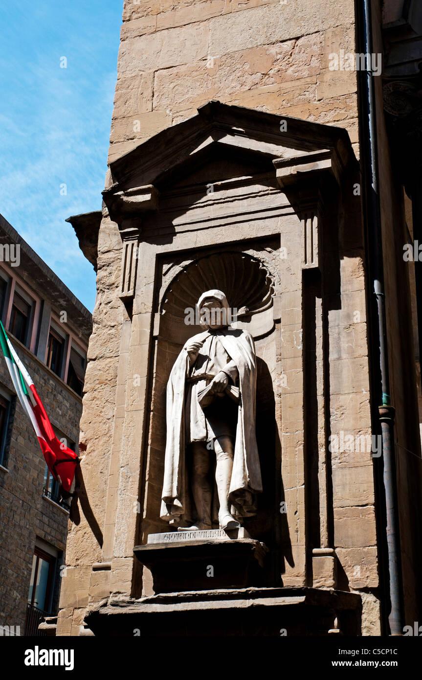 A statue of Giovanni Villani in the Loggia del Mercato Nuovo, Florence, Italy - Stock Image