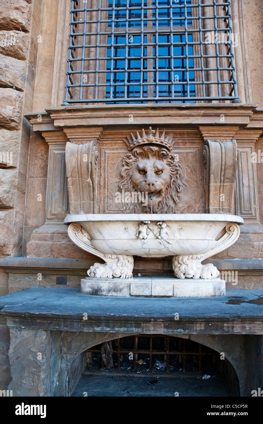 Lions Fountain Florence.Water Flows From The Mouth Of A Sculpted Stone Head Of A