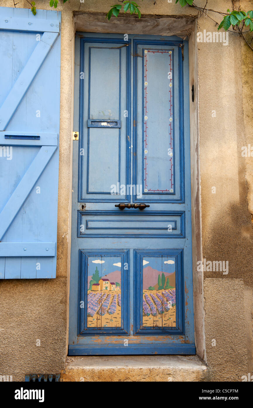 Lavender colored front door in the French Provence Stock Photo
