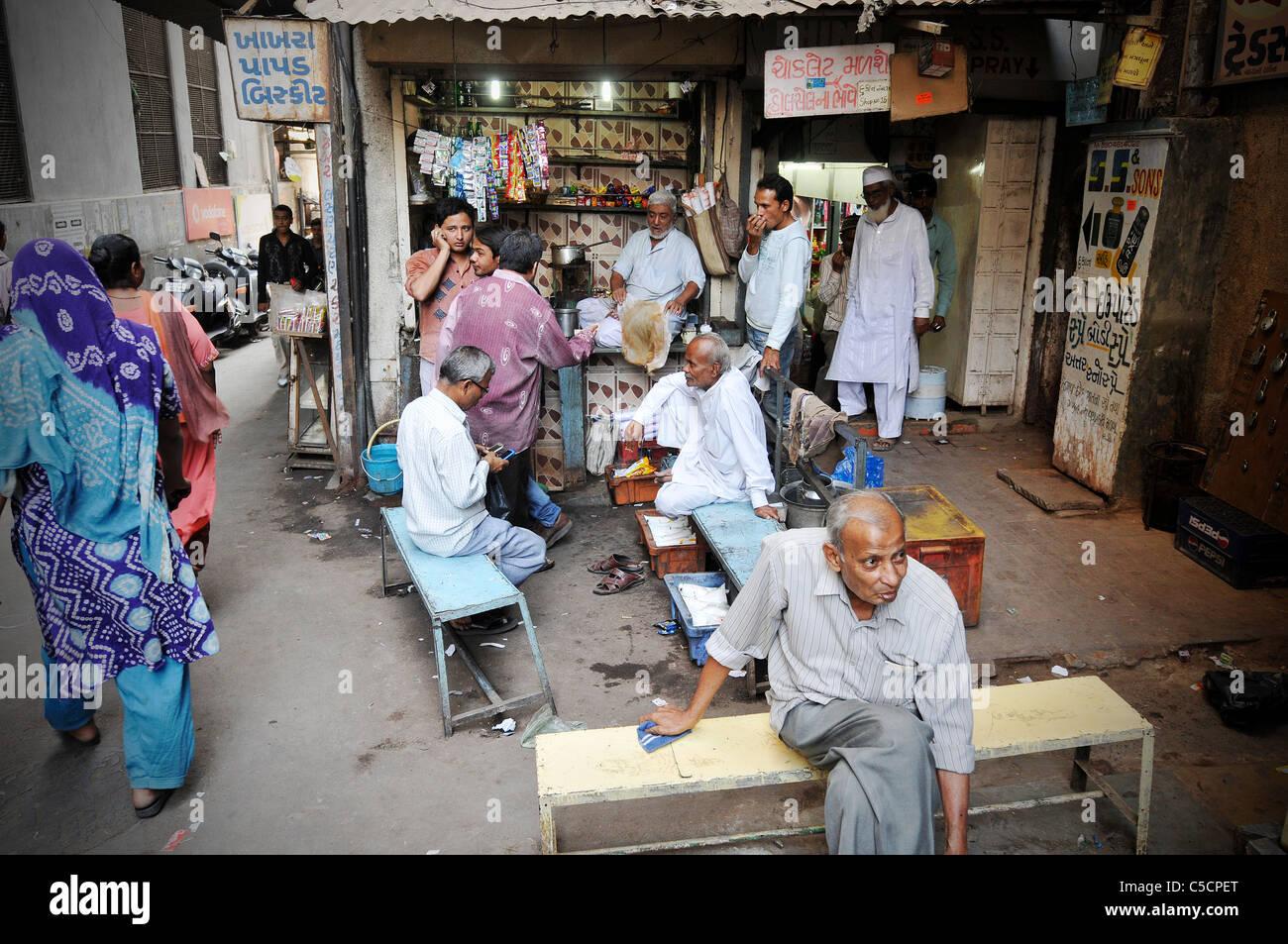 Street scene in Ahmedabad, India - Stock Image