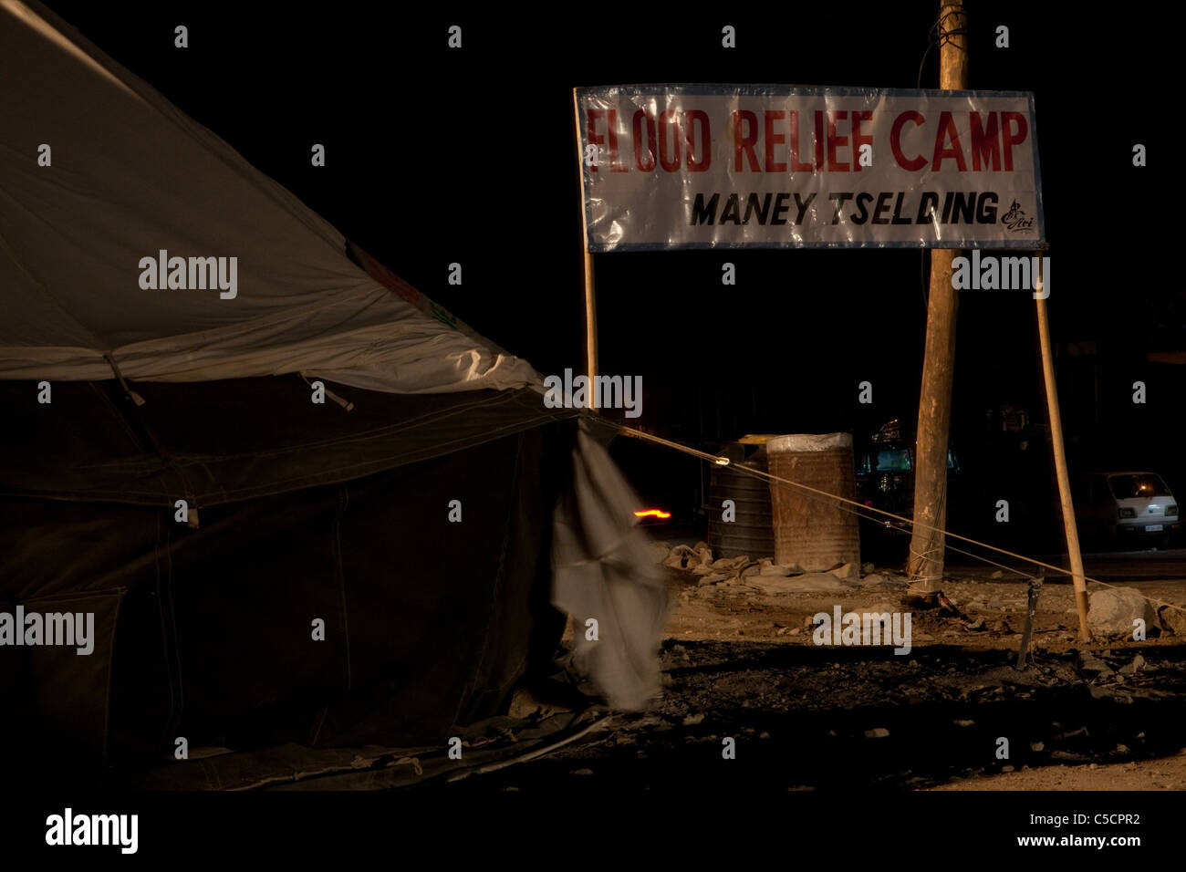 Flood relief camp in Maney-tselding, Leh. - Stock Image