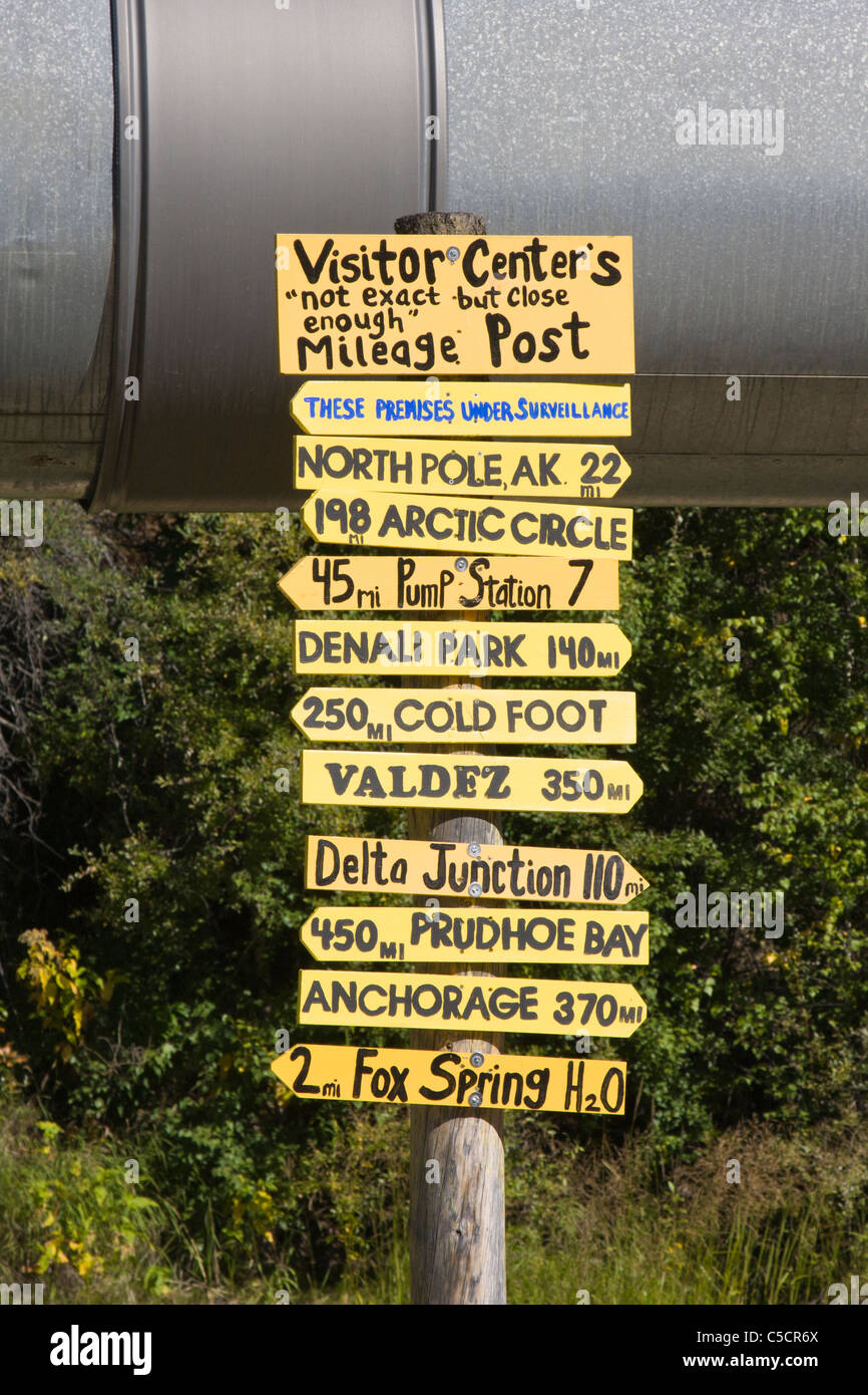 Directions and distances humorous sign on Alaska Pipeline - Stock Image
