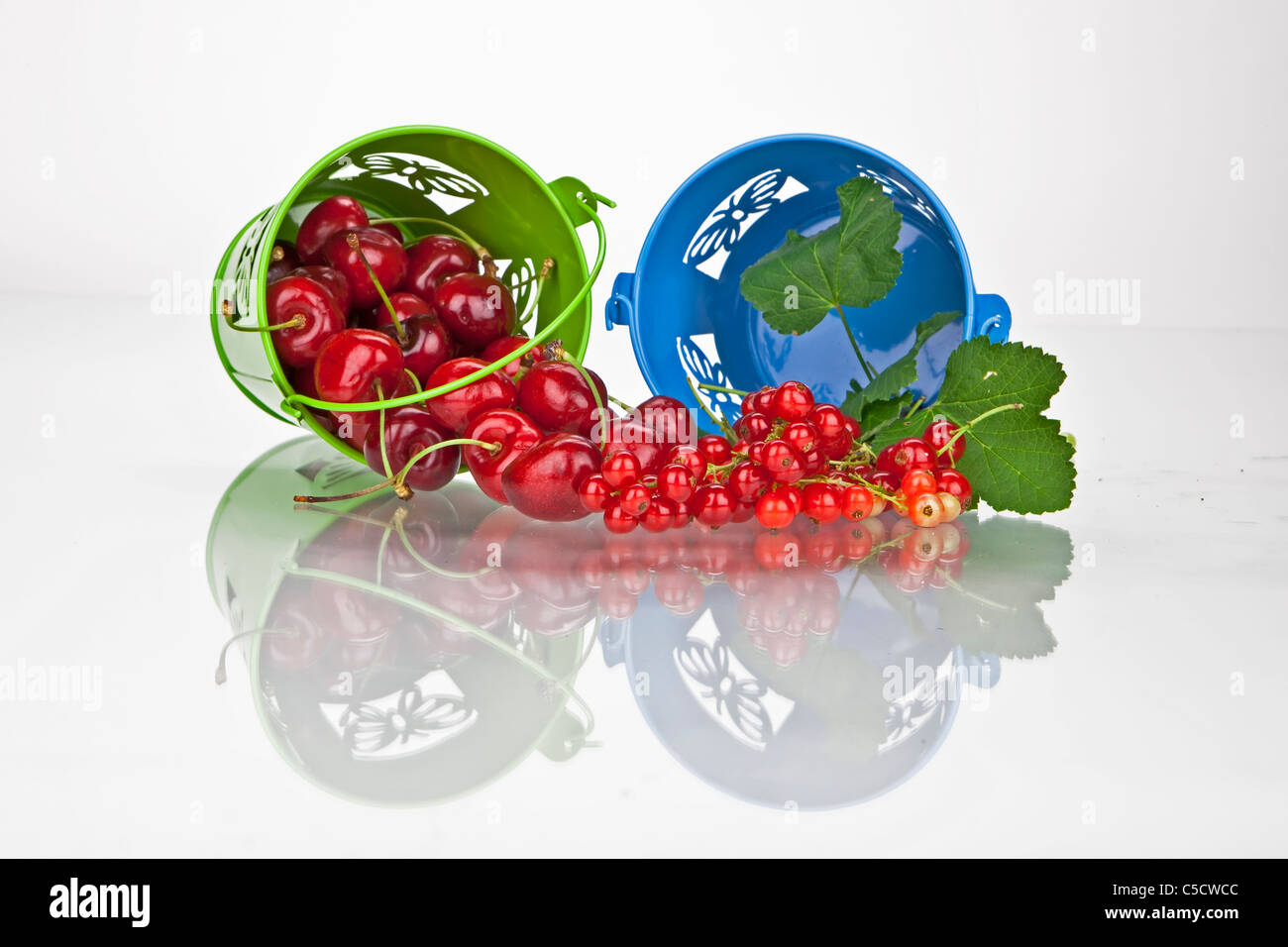 Cherries and currants in small buckets directly after harvest - Stock Image