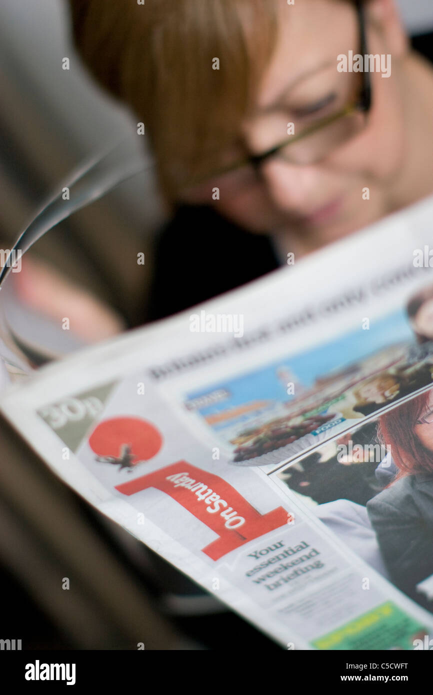 independent I newspaper newsprint saturday - Stock Image