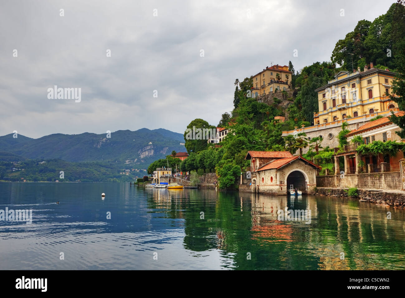View of the Lago d'Orta and the city of Orta in Piedmont - Stock Image