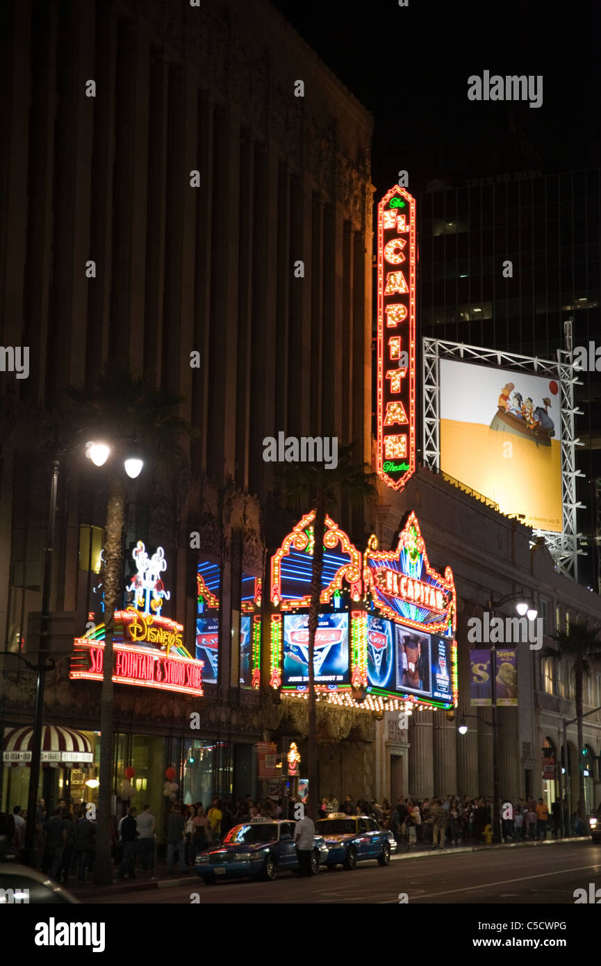 A nighttime shot of the El Capitan Theater on Hollywood Boulevard, Hollywood, California, USA - Stock Image