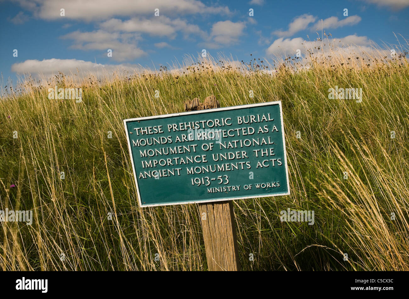 Ministry of Works sign at a prehistoric ancient monument site, Berkshire, UK - Stock Image