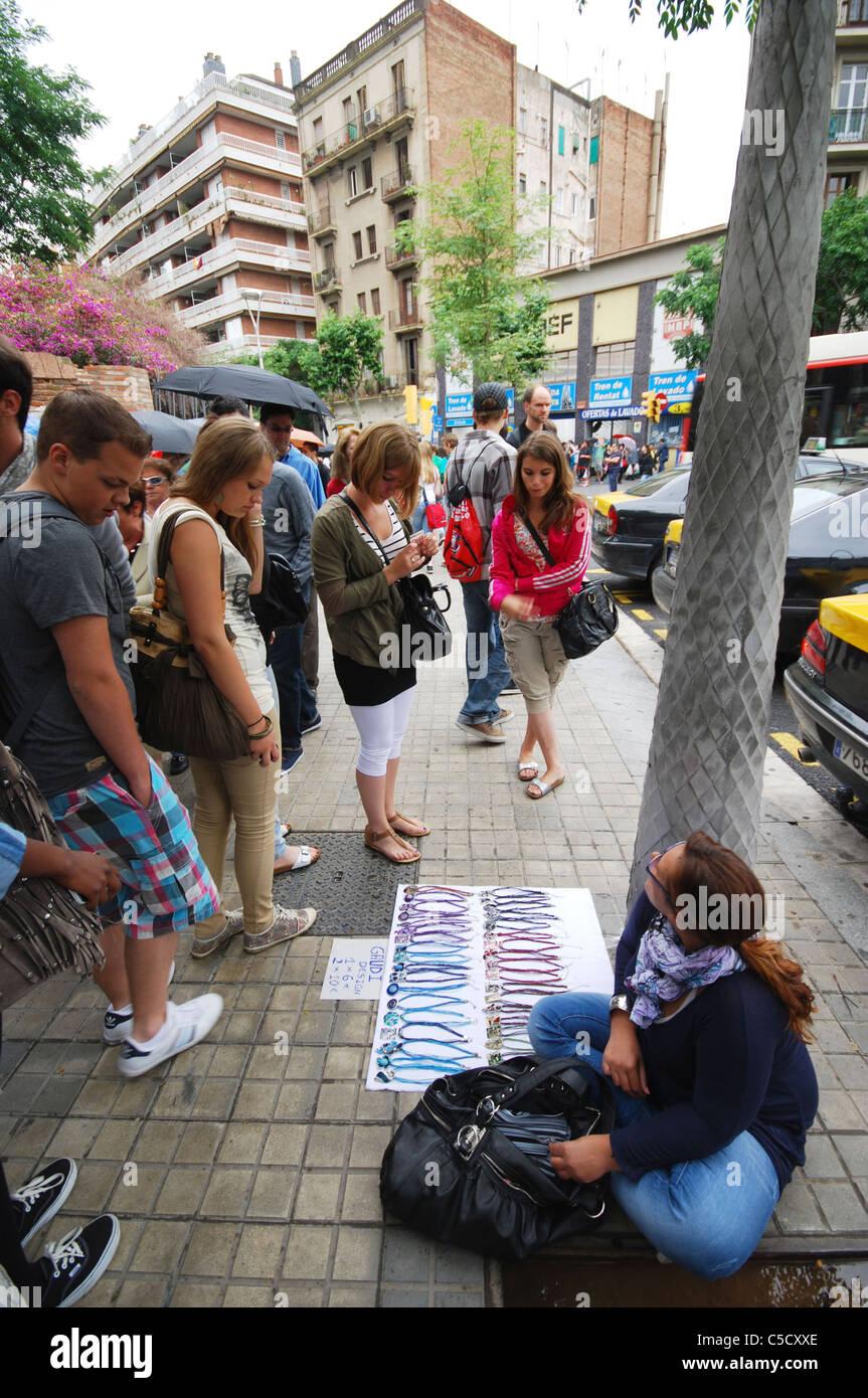 street vendor Barcelona Catalonia Spain - Stock Image