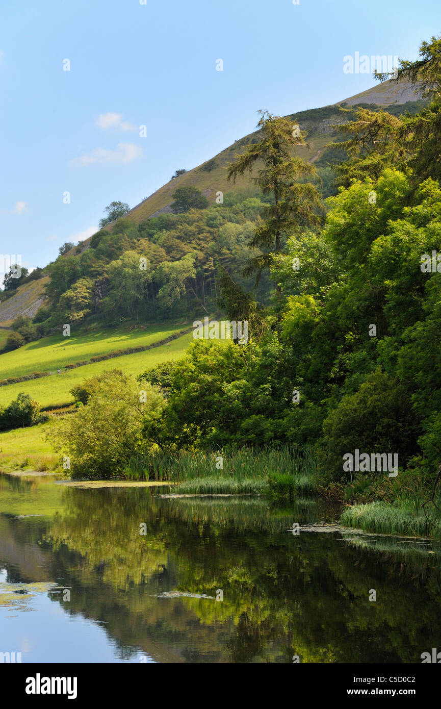 Termination of canal at M6 Motorway.  Northern Reach of the Lancaster to Kendal canal. Farleton, Cumbria, England, - Stock Image