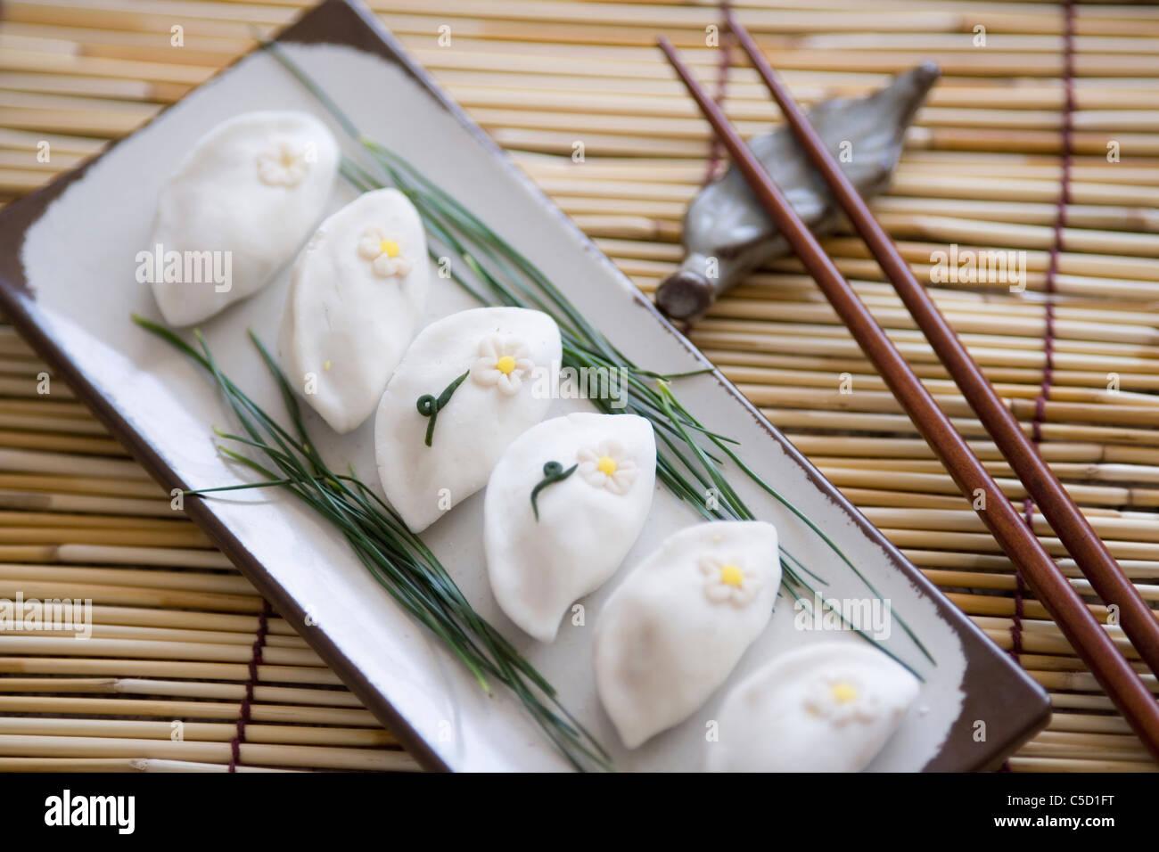 Korean rice cake songpyeons - Stock Image