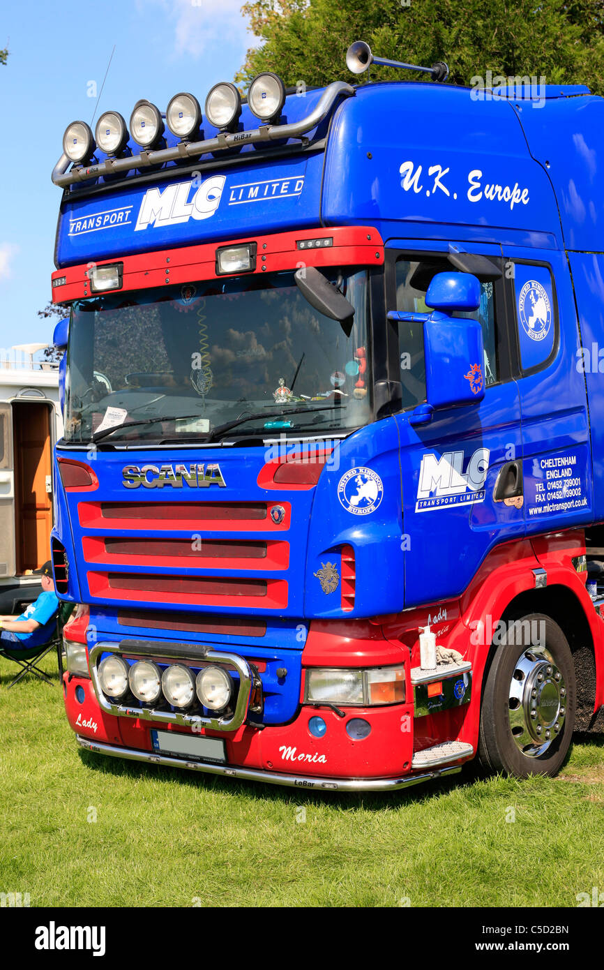 Scania truck of MLC Transport Ltd on display at the TruckFest Somerset - Stock Image