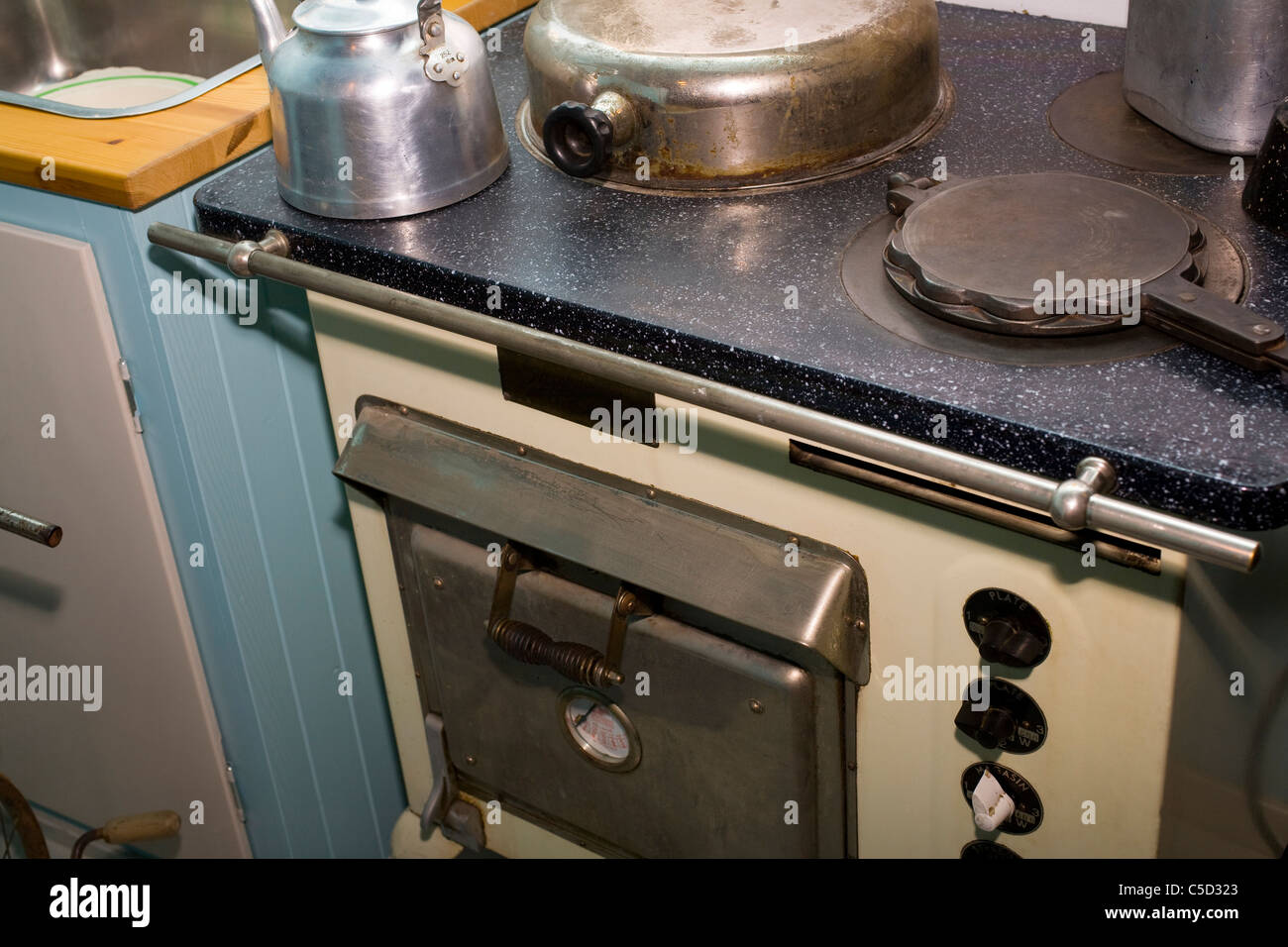 Close-up of an old AGA cooker stove - Stock Image
