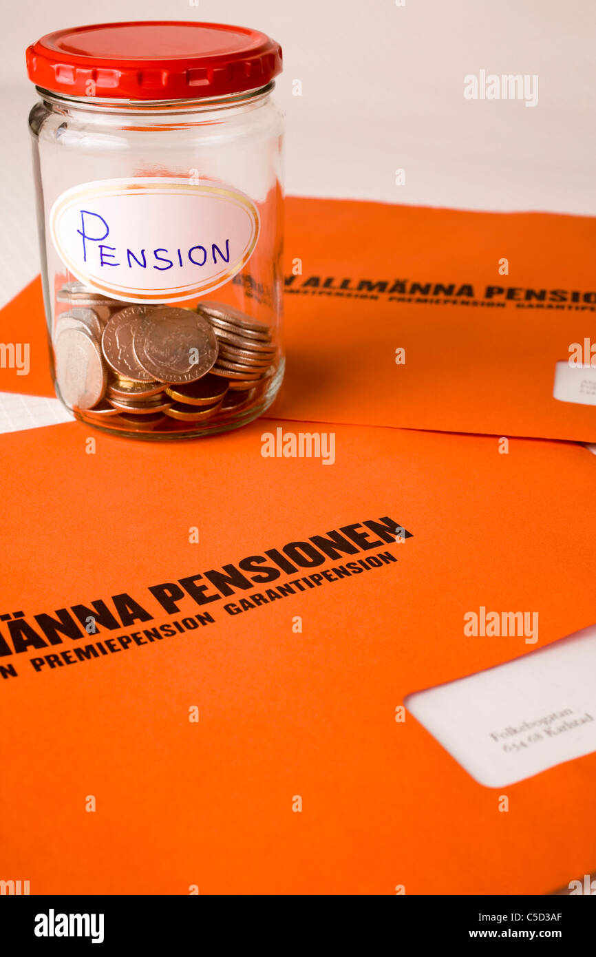 Pension funds in a glass jar on Swedish pension envelopes - Stock Image
