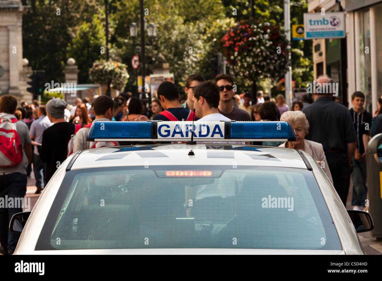 Garda Siochana car in Grafton Street, Dublin, Ireland Stock Photo