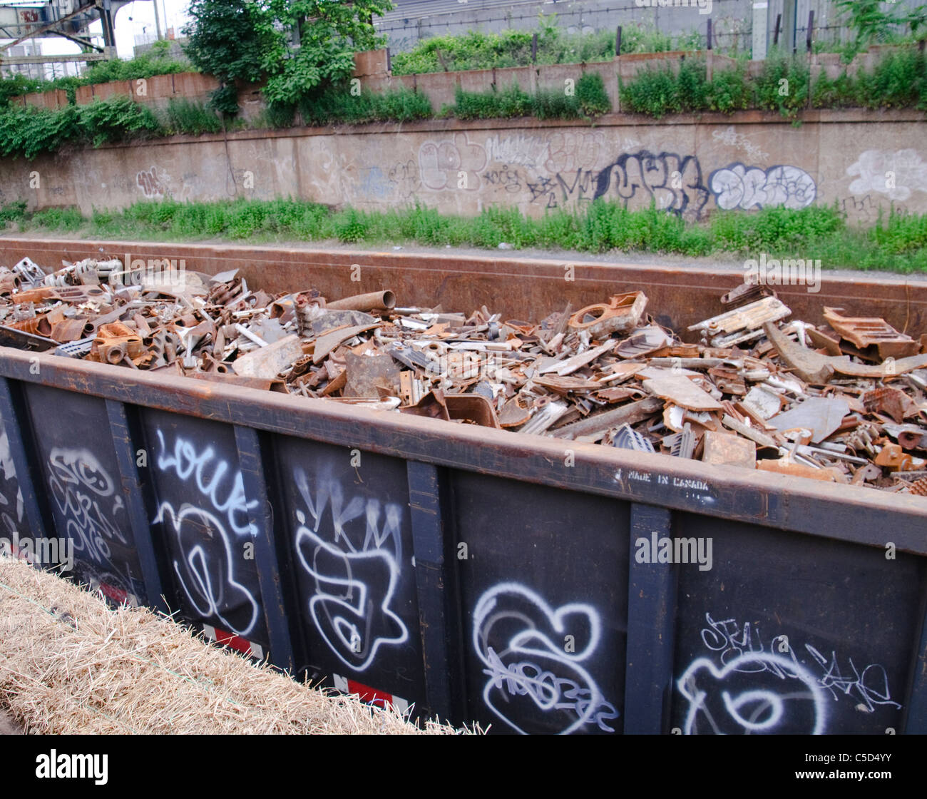 Scrap Metal Cargo Train Wagon, Junk Yard, Brooklyn, New York City - Stock Image