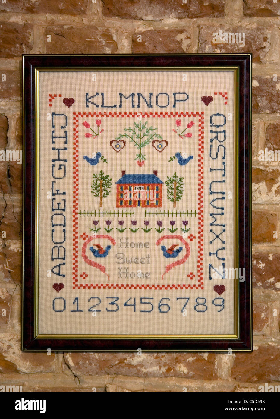 'Home Sweet Home' Sampler at Almshouse in Rochester - Stock Image