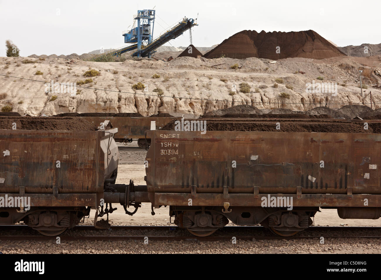 Travel Tunisia.Freight Waggons at the phosphate mines of Seldja. - Stock Image