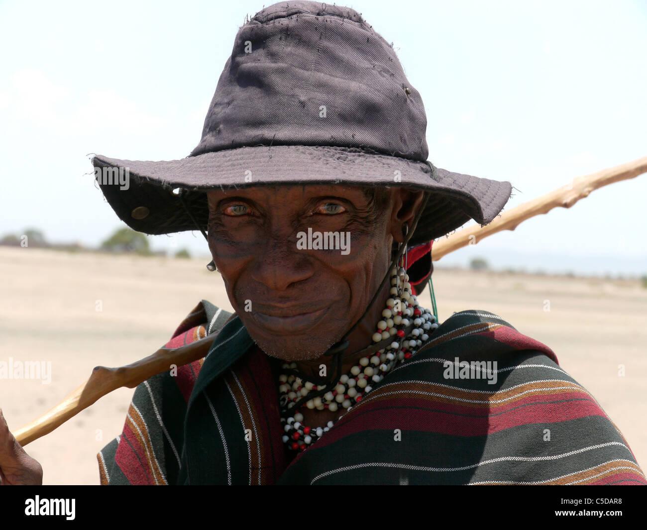 TANZANIA Watatulu tribesmen of Miyuguyu, Shinyanga district. Old man. photograph by Sean Sprague Stock Photo