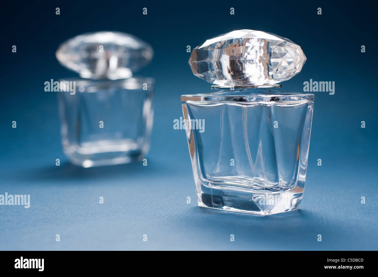 Fragrance Bottles, two items, transparent glass mini bottles with gaps - Stock Image