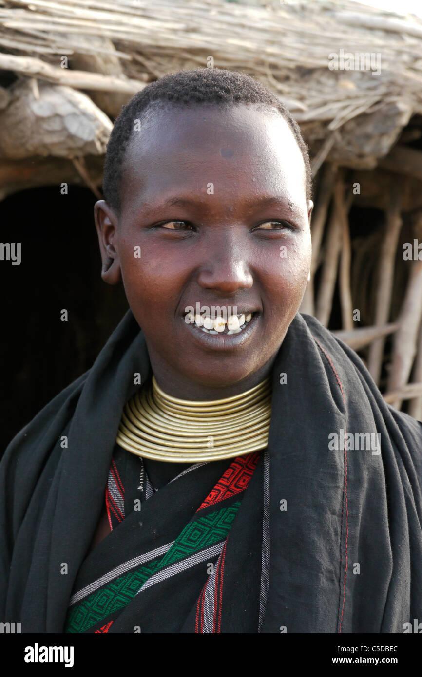 TANZANIA Watatulu tribe of Miyuguyu, Shinyanga district. Young woman. photograph by Sean Sprague Stock Photo
