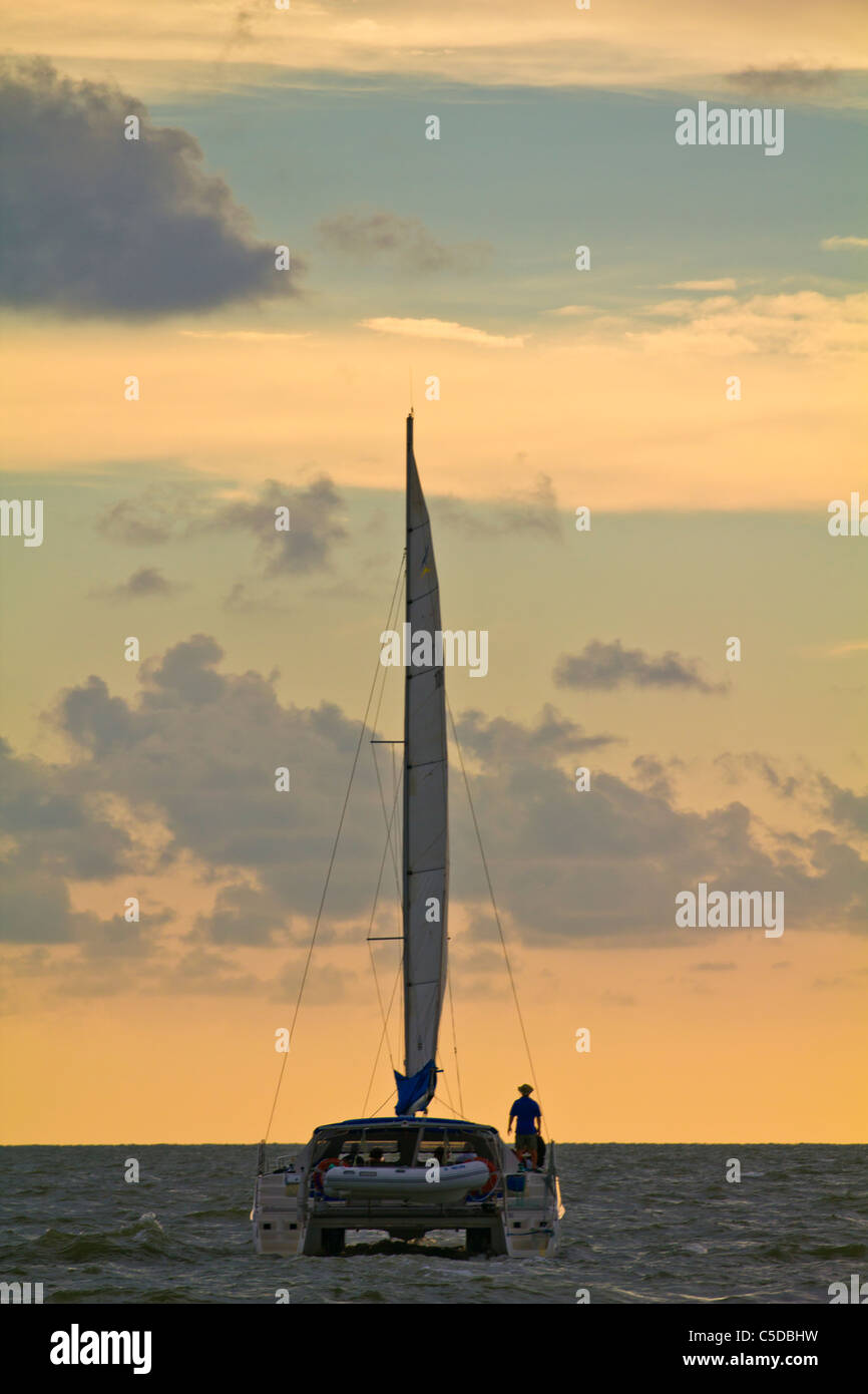 Sailboat off Marco Island in the Gulf of Mexico - Stock Image