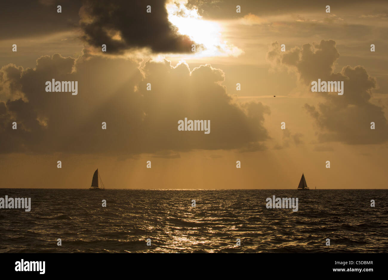 Sailboats off Marco Island in the Gulf of Mexico - Stock Image
