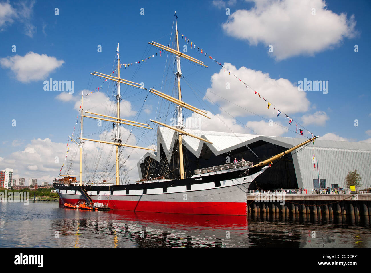 The Glenlee tall ship moored at Glasgow's Riverside Museum, Pointhouse quay, Scotland. - Stock Image