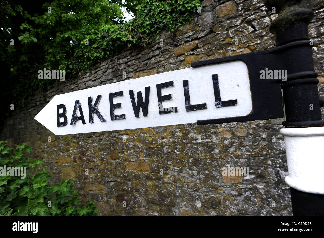Sign for the ancient village of Bakewell - Stock Image