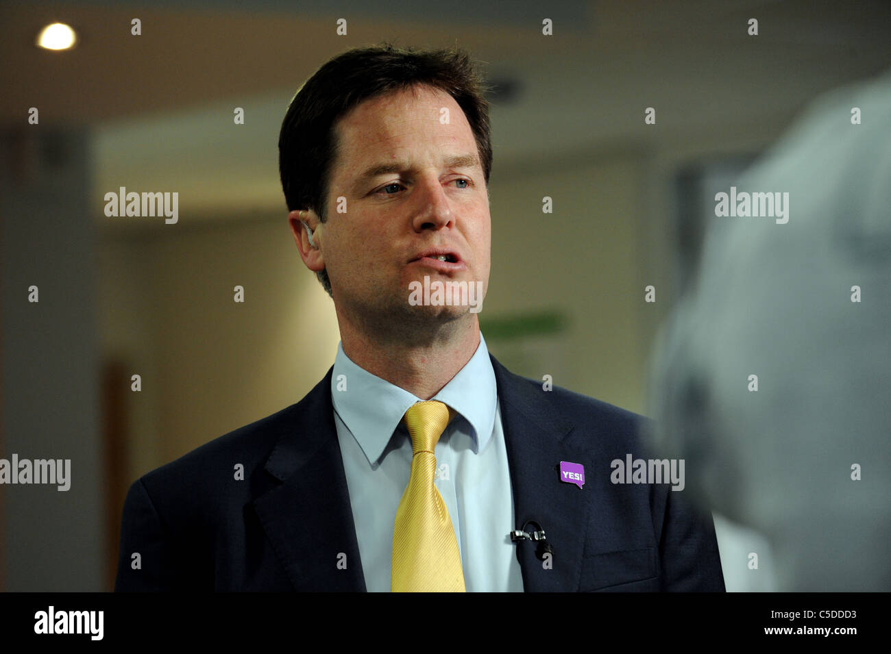 Deputy Prime Minister Nick Clegg bites his lip during a visit to the Newhaven Enterprise Centre - Stock Image