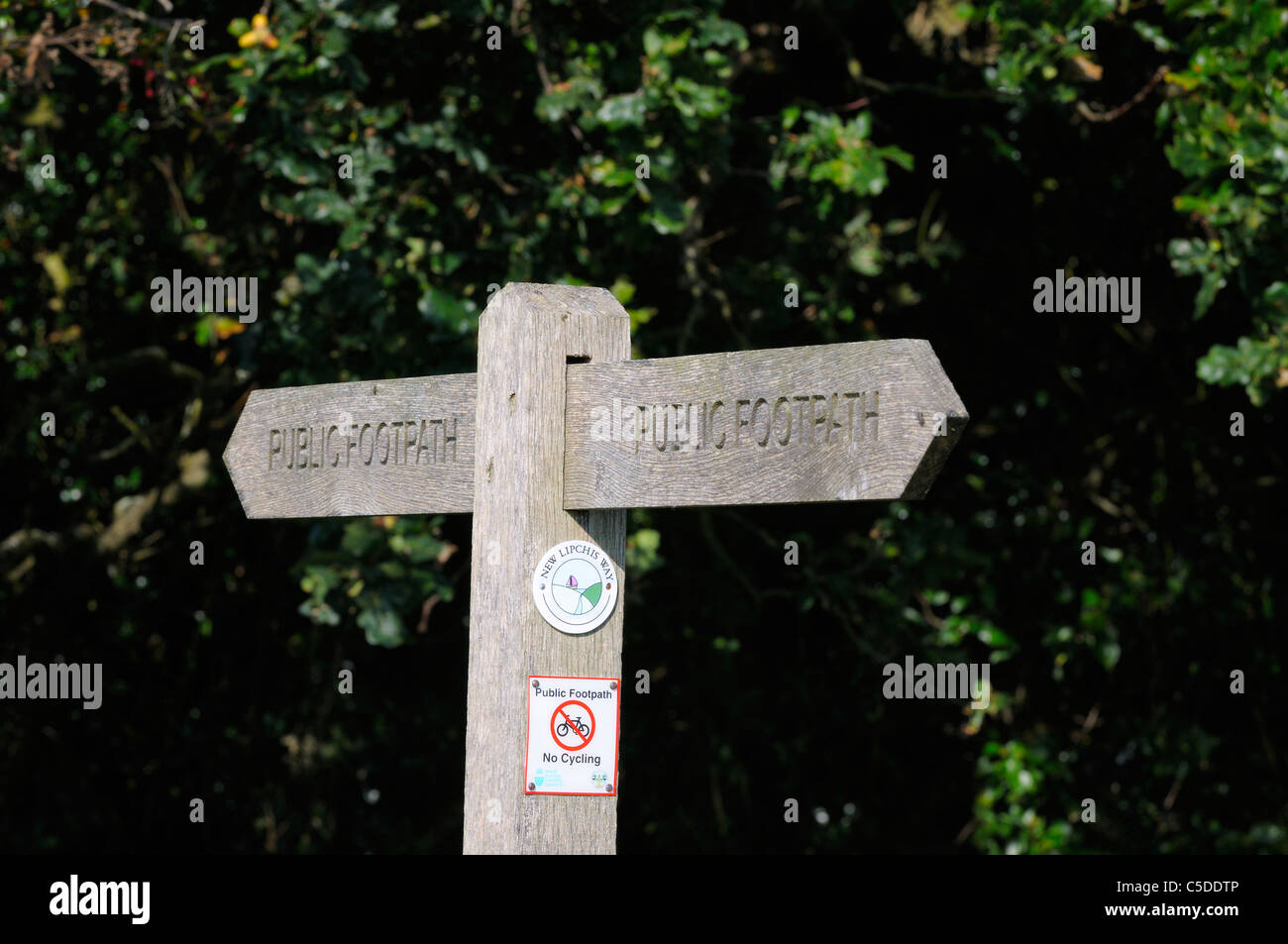 Public Footpath sign - along   Chichester Harbour , Sussex - Stock Image