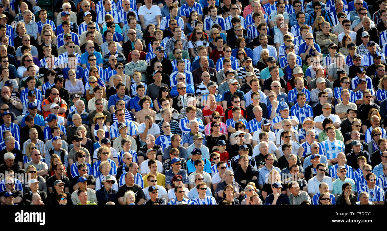 Brighton and Hove Albion Football fans sit in the sun watching the match at the Withdean Stadium - Stock Image