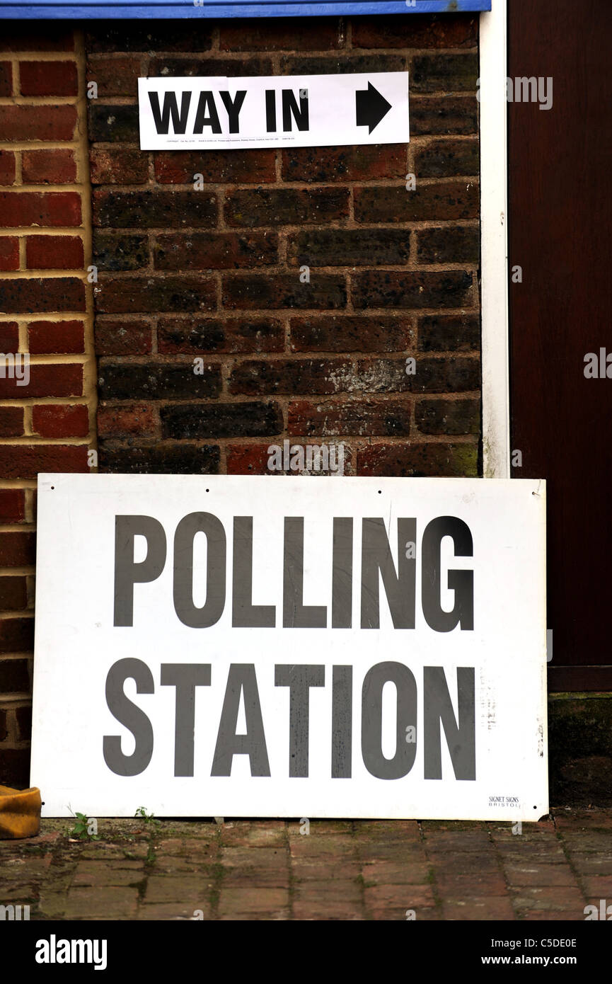 Local Council Elections 2011- A Polling Station sign outside a school in Brighton - Stock Image