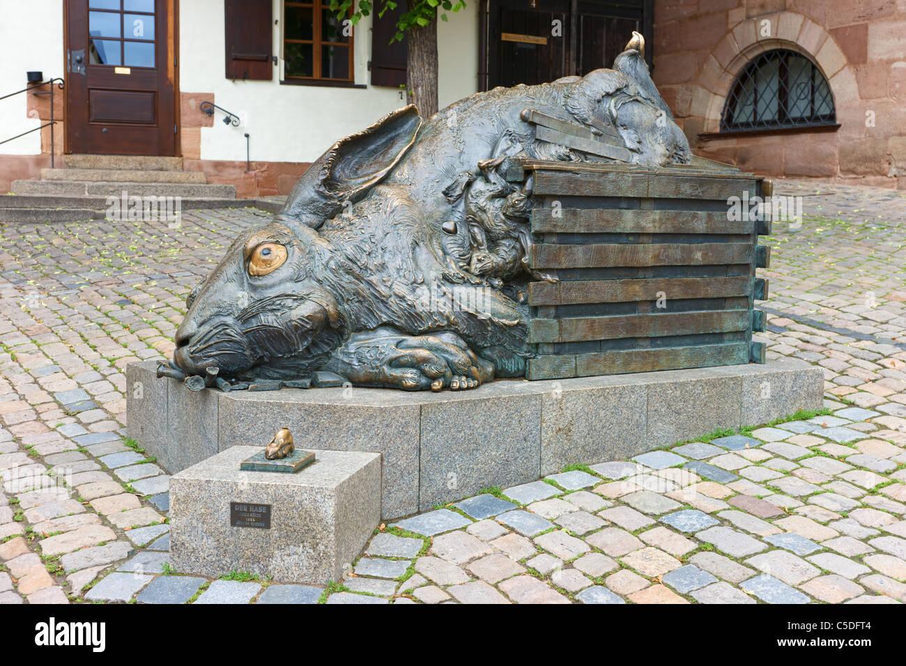 Der Hase nach Dürer sculpture by Jürgen Goertz in 1984 - Stock Image