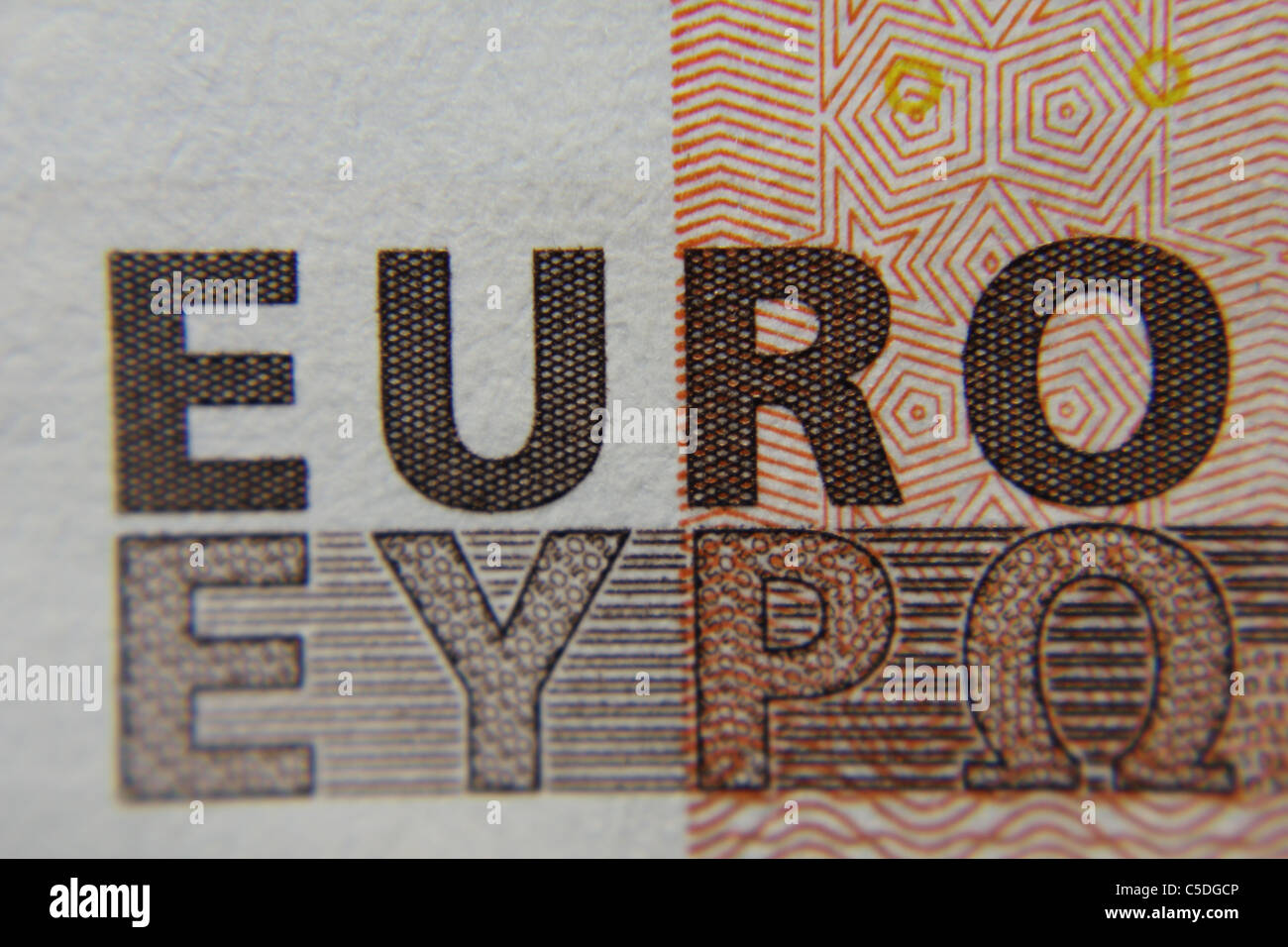 close up of a 50 Euro note showing the word EURO - Stock Image