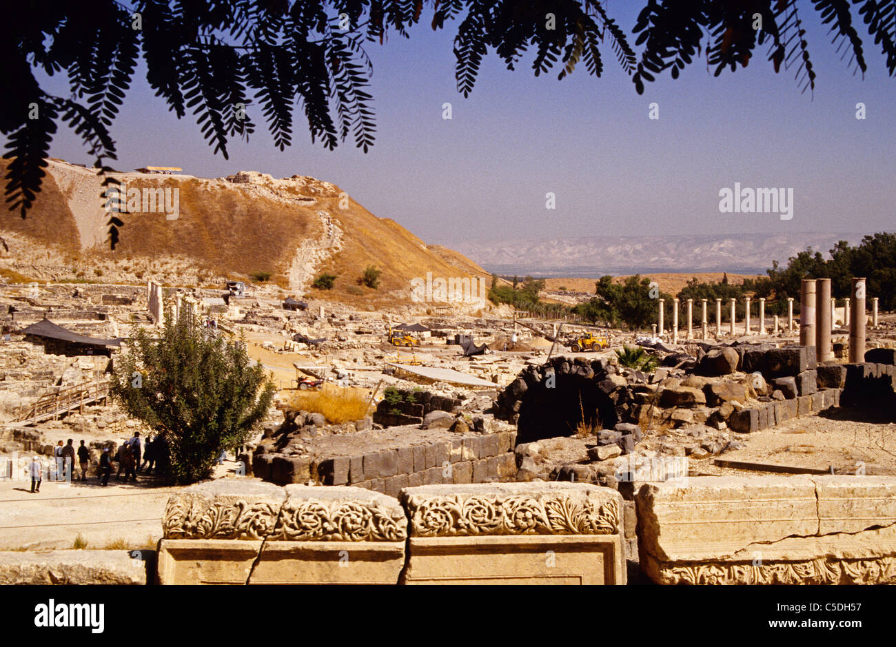 Beit She'an archaeological site, Biblical city in Jordan Valley - Stock Image