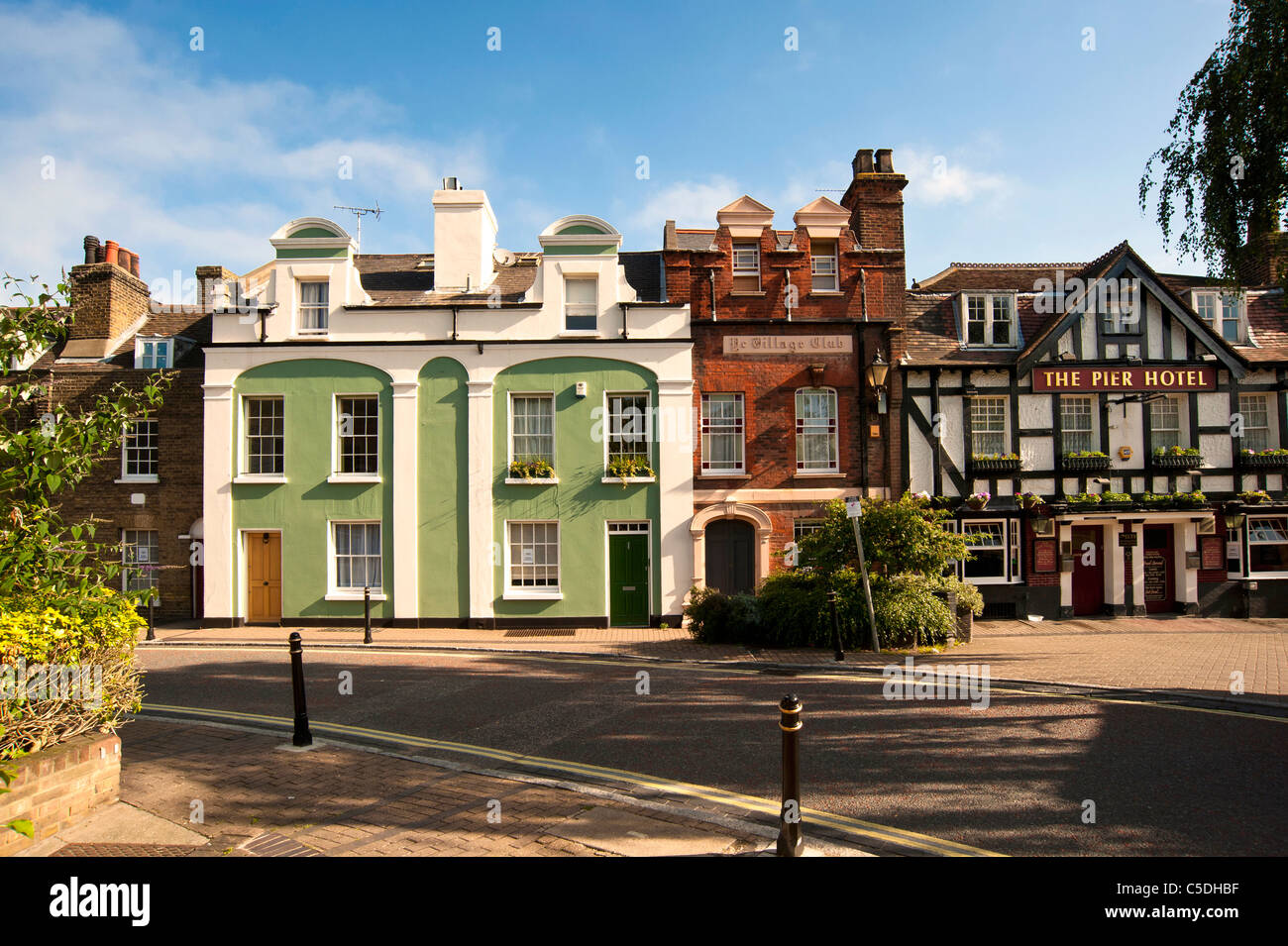 Buildings along the High Street in Greenhithe, Kent.  Including the Pier Hotel Ye Village Club - Stock Image