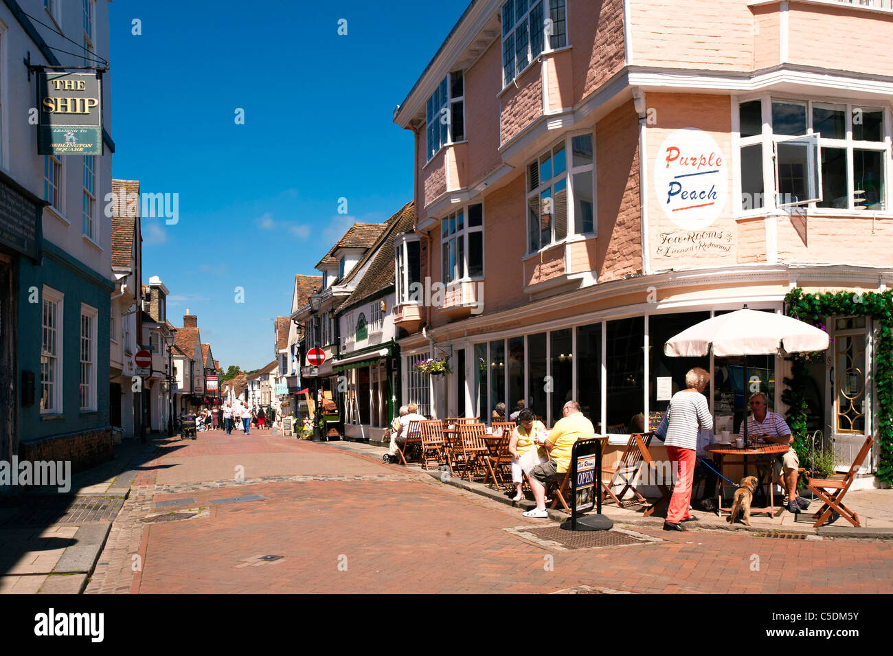 View from Market Place down West Street in Faversham Kent Stock Photo