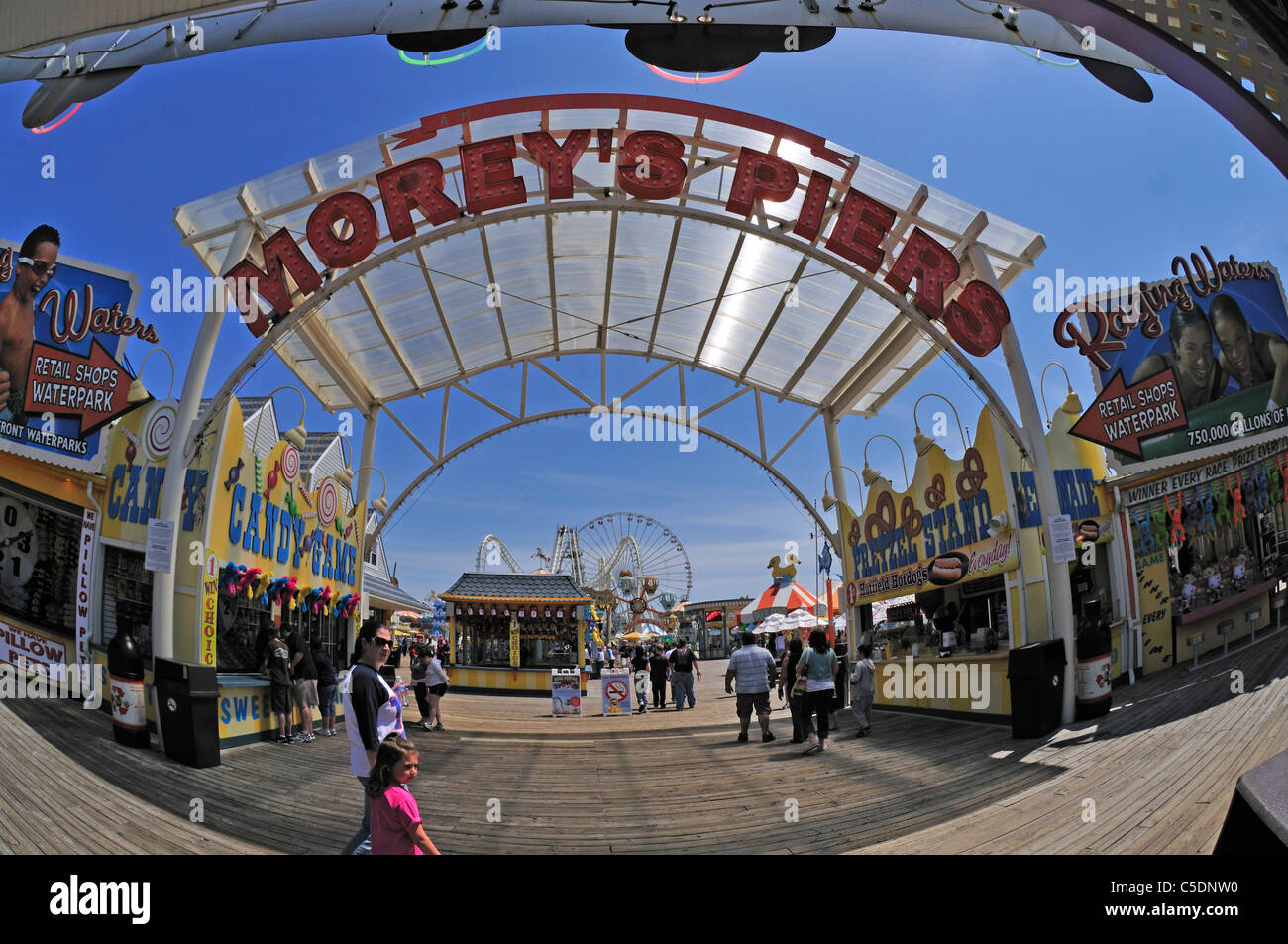 Entrance to Morey's Piers on the boardwalk in Wildwood, New Jersey (fisheye lens) - Stock Image