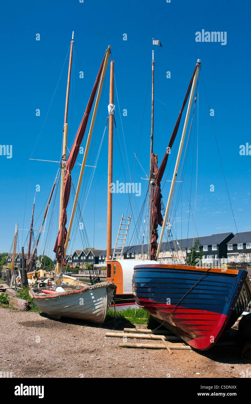 Wooden Boats on the Quayside at Faversham in Kent Stock Photo