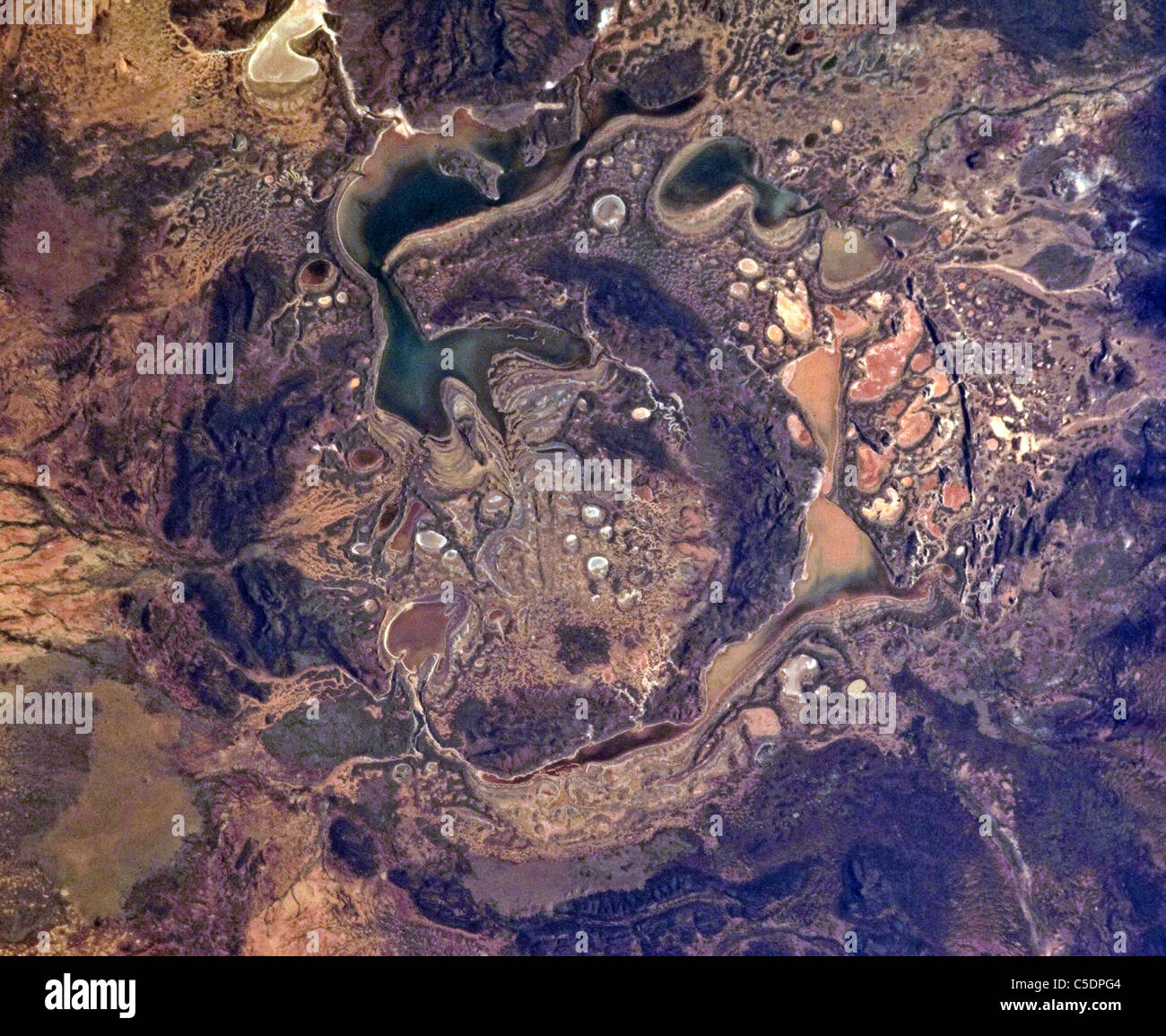 The Shoemaker (formerly Teague) Impact Structure located in Western Australia in a drainage basin south of the Waldburg - Stock Image