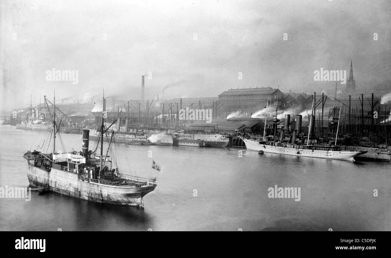 Armstrong gun works, docks, Newcastle, UK - Stock Image