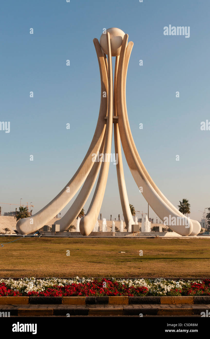 Bahrain, Manama, downtown, Pearl Monument destroyed March 18, 2011 by government forces following uprising - Stock Image
