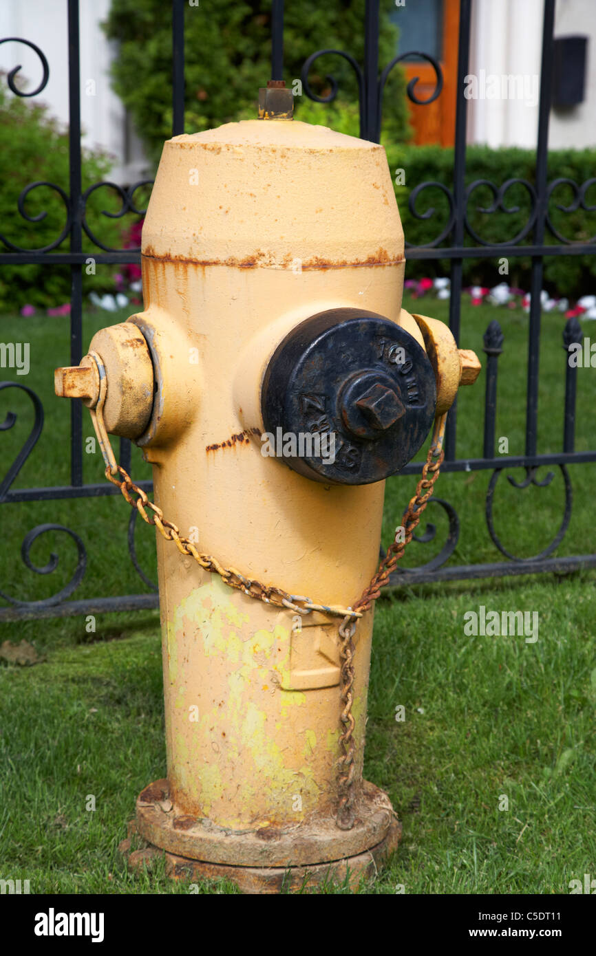 yellow fire hydrant in a residential area of toronto ontario canada - Stock Image