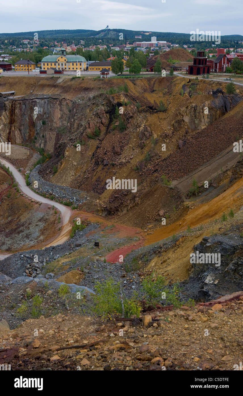 High angle view of copper mine city at Falun, Sweden - Stock Image