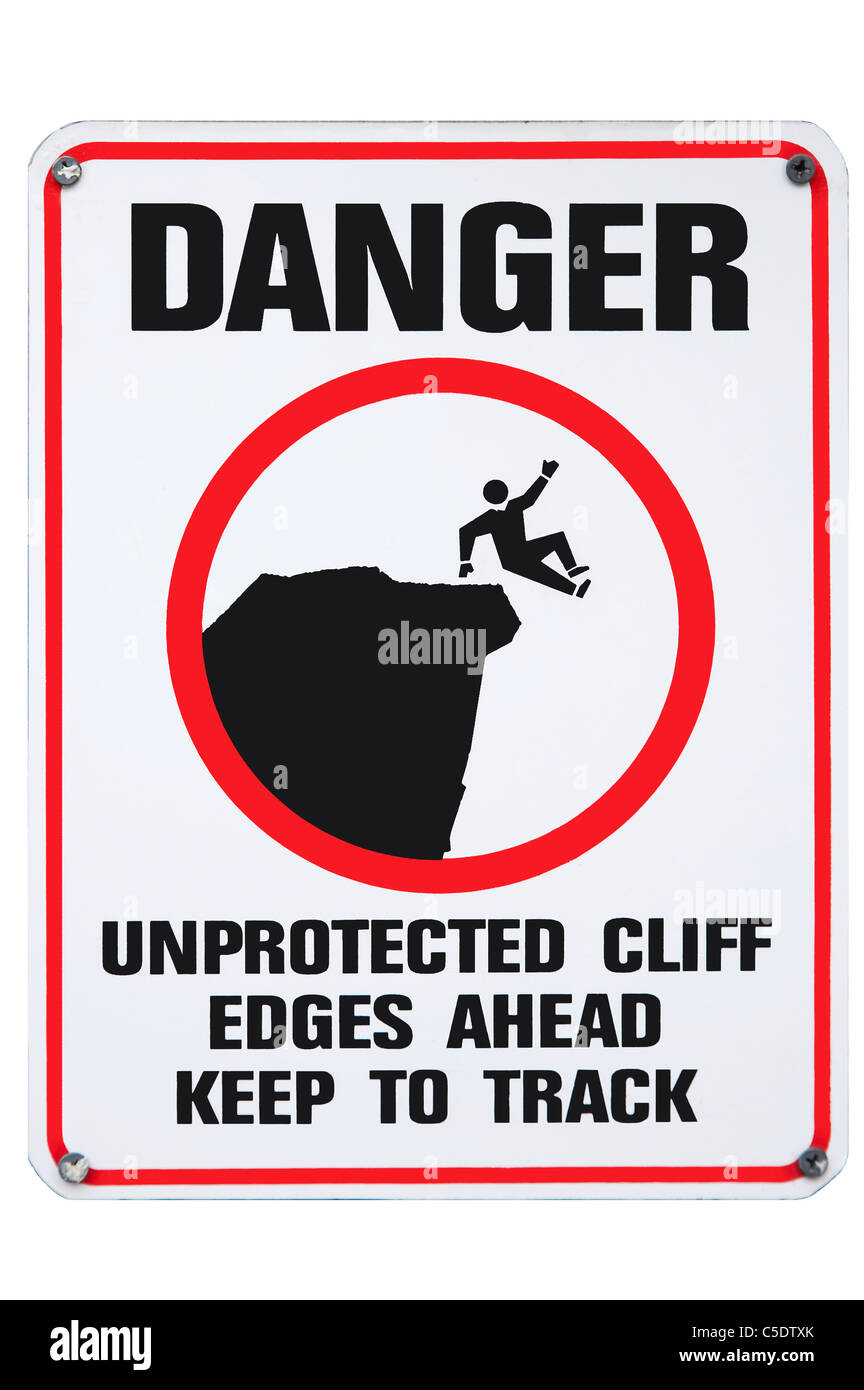 Cliff Warning Sign, Australia - Stock Image